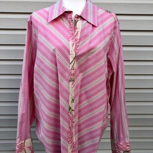 WOMENS 18 TOMMY HILFIGER pink FLORAL blouse L/S